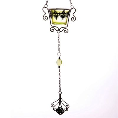 Hanging Scroll Candle Holder Green